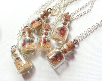 beach in a bottle necklace with tiny shells and a hearts, valentines day gift, mothers day gift