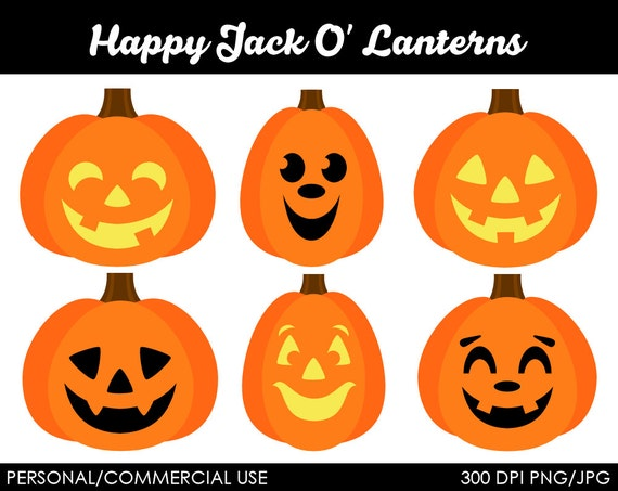 Happy Jack O' Lanterns Clipart Digital Clip Art by MareeTruelove
