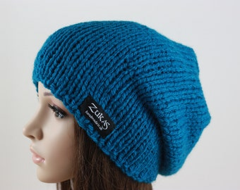 Hand Knit Hat, Slouchy Hat for Women or Men, Beanie, Winter Fashion, Winter Accessories, Kingfisher Blue