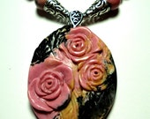 PInk Rhondonite Roses with Pink Rhondonite Bead Necklace and Sterling