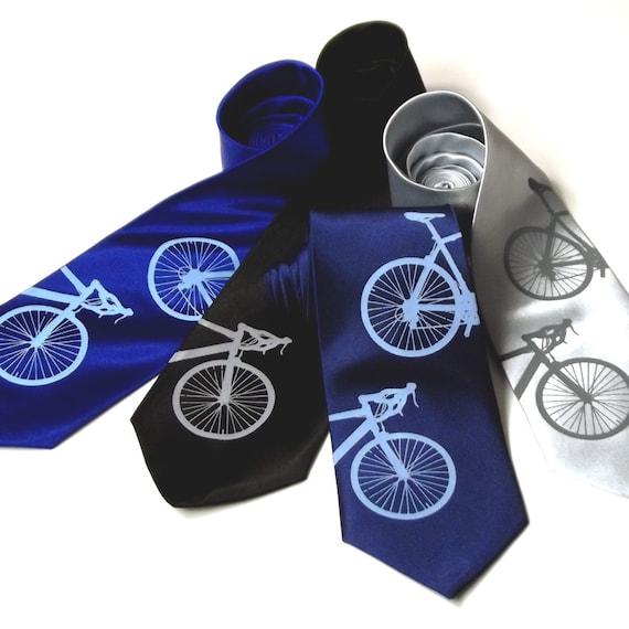 Men's Bicycle Tie - Microfiber Screenprinted Necktie - Gift Wrapped
