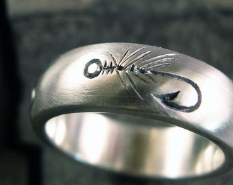 Fly Fishing Ring Wedding Band Nature Ring