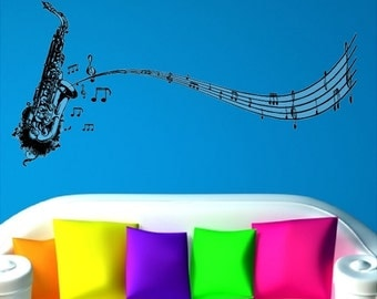 """Saxophone With Music Notes Wall Decal Removable Music Wall Stickers Peel and Stick Clear Background Art 20"""" x 48"""""""