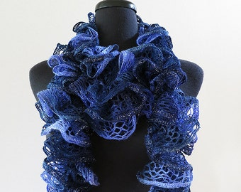 FREE US SHIPPING - Starry Night Dark Blue Navy Color Ruffled Scarflette Lariat Collar Skinny Scarf