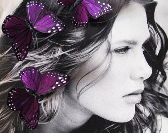 3 Brandy Purple Feathers  Butterflies Hair Clips for weddings