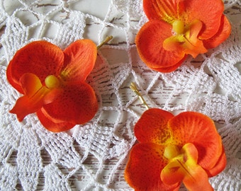 Hawaiian Orange Orchids SET OF 3 bobby pins flowers-hair clips - Weddings - 2 inches