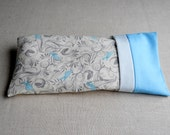 Aqua Blue Bird Print Eye Pillow with Removable Cover and Organic Ingredients, Aromatherapy Eye Pillow, Grey and Aqua Blue Birdie
