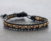 Unisex Masculine Leather Beaded Bracelet