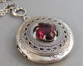Garnet Amulet,Locket,Antique Locket,Silver Locket,Garnet Stone,Vintage Rhinestone,Vintage,Red Stone,Garnet Birthstone. Valleygirldesigns.