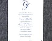 Classic Wedding Invitation with Customized Monogram and Damask Graphics