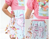 Aria Tuxedo Ruffle Dress Sewing Pattern - 3m-8, and doll