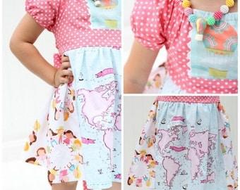 Girls Dress Sewing Pattern, Peasant Dress Pattern, Easy Ruffle Dress Sewing Pattern, Aria