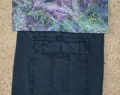 backpack - Recycled cotton cargo in Navy with batik trim - Made to Order
