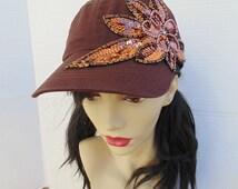 Art Deco Hat, Flower hat, Brown Hat, Women's Hats, Cap