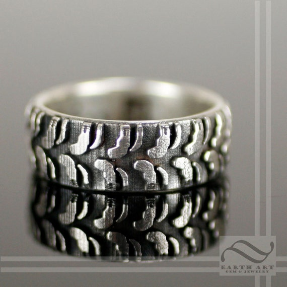 Mens Mud Tire Tread Ring Sterling Silver By Mooredesign13 On Etsy