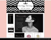 Premade Boutique Website Template, Black White Chevron, Peach, Pink, Elegant Web Design, Web Site Template, Paris Chic!