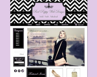 Boutique Website Template, Black White Chevron, Lavender, Purple, Elegant Web Design, Web Site Template, High Fashion