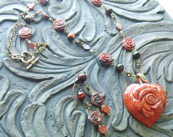 Poppy Jasper Heart Gemstone Necklace and Earrings Set -Rose Garden- Burnt Orange, Earthy, Dark Brown on Gold