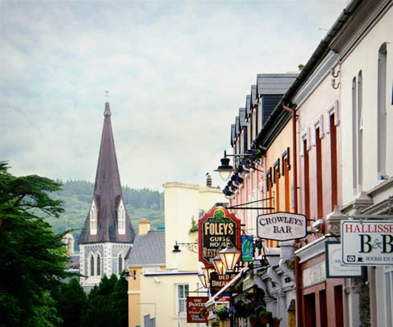 Ireland Travel Photograph Town City Church Steeple Quaint