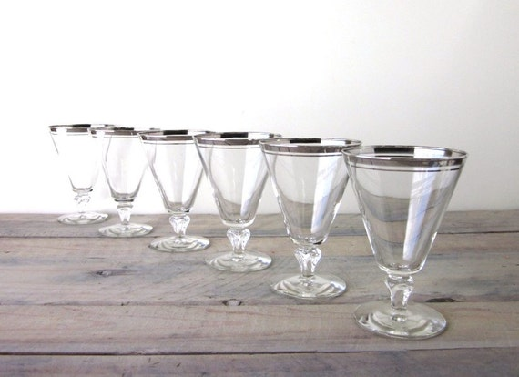 vintage cocktail glasses with silver trim barware set by