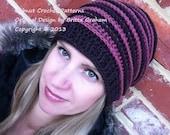 Ribbed crochet hat pattern No.306 using DK weight (US Light/3, AUS 8ply) yarn