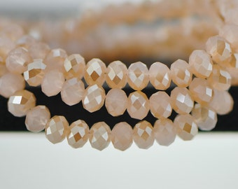 Faceted Rondelle Crystal Glass Beads 4x6mm Pink Gold Champagne  95pcs /(BZ06-35)