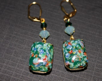 Green Millefiori Earrings