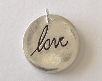 Your Actual Loved Ones Writing Silver Pendant  or Charm Made to Order