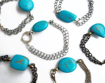Turquoise Bracelet, Teal Stone Bracelet, Stone Chain Bracelet