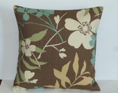 Throw Pillow Decorative Pillow Accent Pillow Cushion Covers Brown Green Blue Beige Floral Indoor/Outdoor 16 x 16