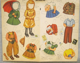 Paper Doll Clothes , Antique , Uncut , Double Page , Paper Dolls , Clothes , Doll Clothes , Dolls , Clothing , Loose Art , Paper