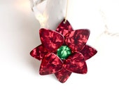 Poinsettia Guitar Pick Christmas Ornament - Red and Green Pearloid