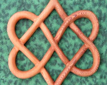 Stylized Knot of Four Hearts-Celtic Wood Carving for Love and Relationships