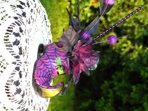 Purple Witch Shoe Halloween Decoration By