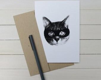 gee whiskers series: screenprinted cat bandit greeting card
