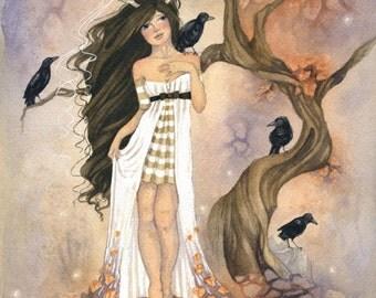 Fantasy Art Print - Crows - watercolor art. whimsical. autumn. birds. girl. antlers. fine art.