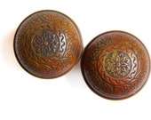 FREE SHIPPING - Antique Ornate Eastlake Brass Door Knobs, One Pair