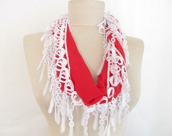 red scarf / chiffon scarf / women accessory / women scarf / long scarf / fringed scarf