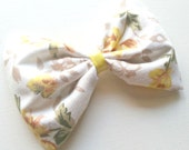 Vintage Inspired Yellow with Flowers Fabric Hair Bow