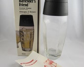 "Vintage ""Bartender's Friend"" Cocktail Shaker, Phoenixware, with Recipe Book"