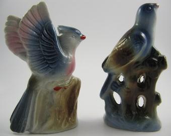 Vintage Bird Figurines Japan Blue Jay Bluebird Ceramic 1950s 50s