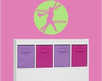 Softball Wall Decal Wall Art with Pitcher