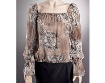 2 STYLES Sheer BLOUSE US size 6-10 with beautiful pattern