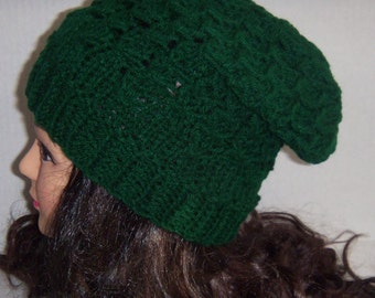Emerald Green Slouchie Knitted Hat, Green Touque, Baggy Hat
