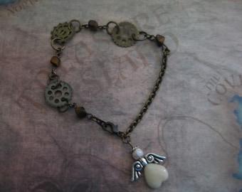 Gears and Angel Chain Bracelet with semi precious Beads with handmade card