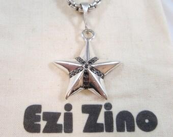 Genuine Ezi Zino silver star Black Diamonds 0.31 CT pendant solid sterling silver 925