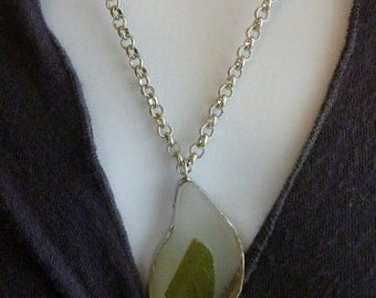 Sea Glass Jewelry-Pendant-Olive Green and Clear Glass-OOAK-Repurposed Jewelry