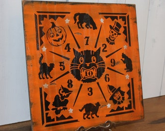Halloween Game Board/Dime Toss/Penny/Vintage Style/Carnival Style/wood sign hand painted/Halloween Sign