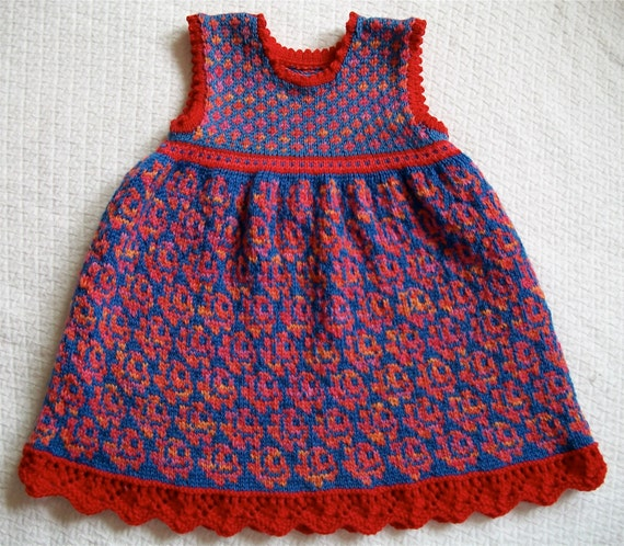 Knitting Pattern: Roses Dress Size Two Years