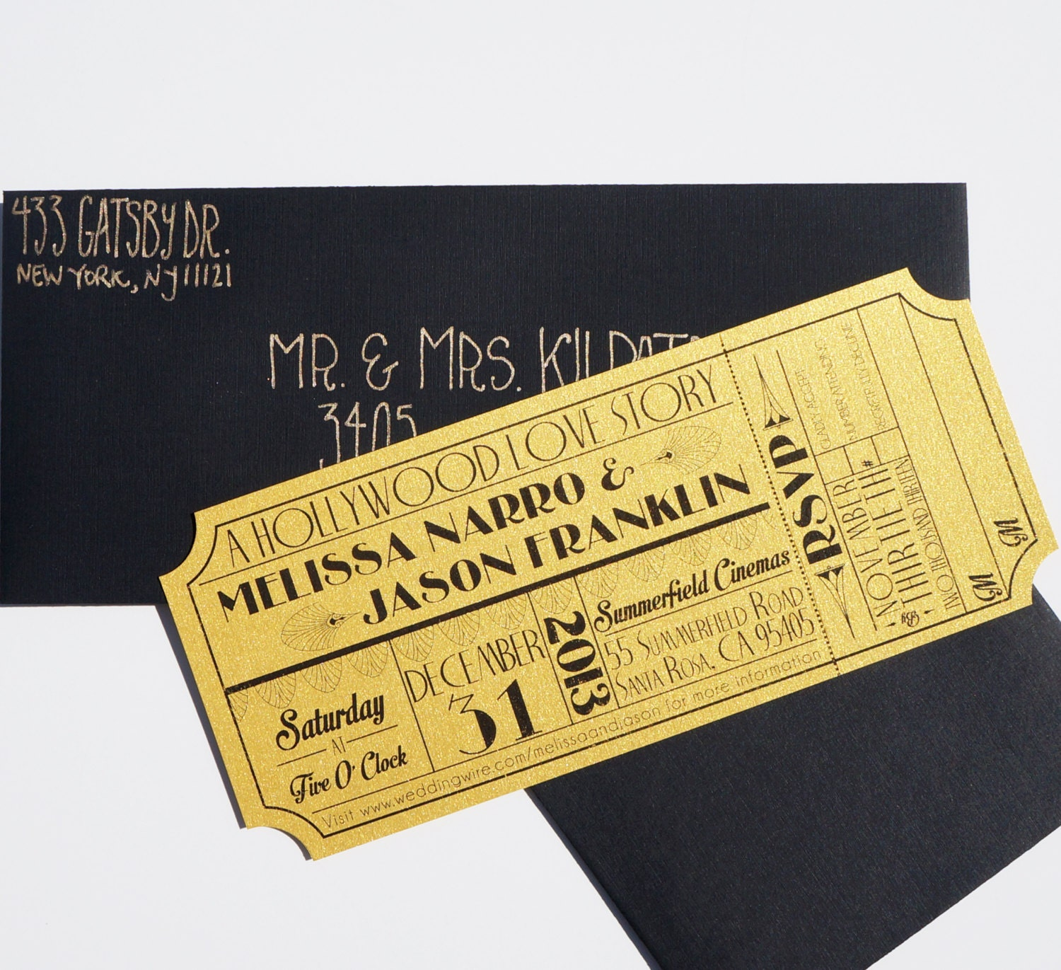 Old Hollywood Art Deco Gold Movie Ticket on oscar party invite